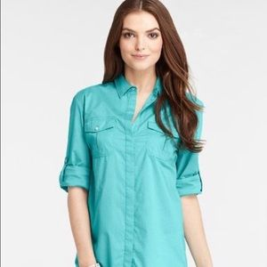 Beautiful Turquoise Ann Taylor Silk Blouse